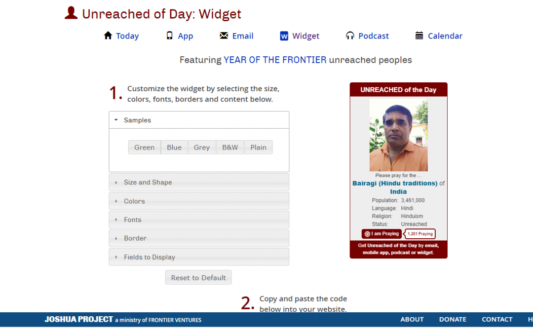 """6) Joshua Project Adds an """"I Am Praying"""" Button to Their Unreached People Widget"""