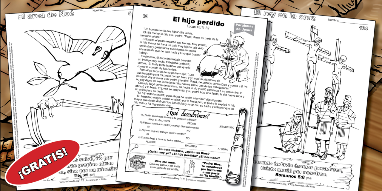 2) Free Spanish Bible Stories and Coloring Pages